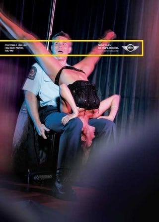 Illustration for article titled MINI Encourages Speeding While Traffic Cops Get Lap Dances