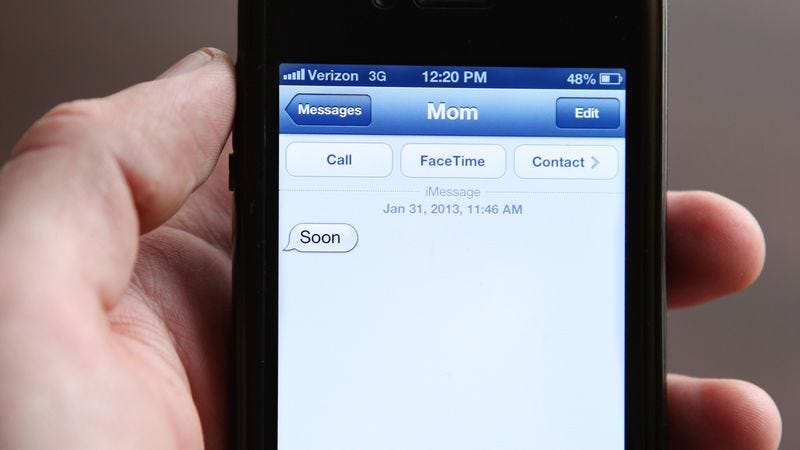 Illustration for article titled Creepy One-Word Text Message From Mom Could Mean Anything