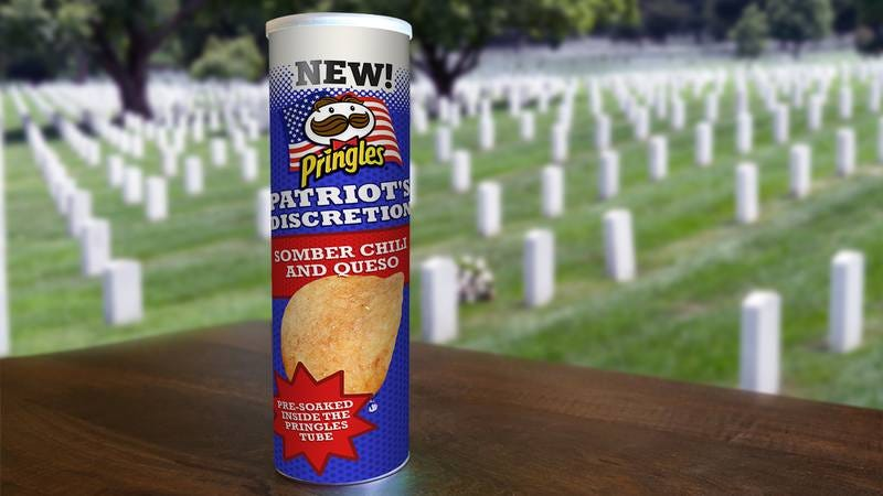 Illustration for article titled Powerful: Pringles Has Unveiled A Line Of Damp Chips That Won't Crunch Loud Enough To Ruin A Moment Of Silence For Our Fallen Soldiers