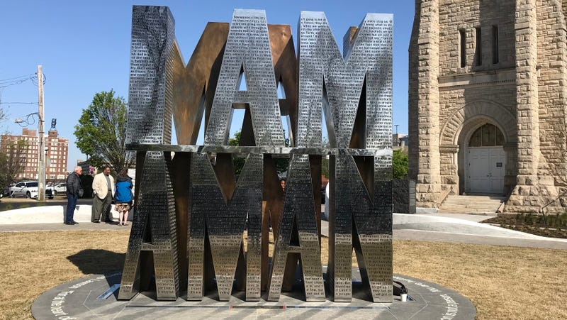 The I Am a Man sculpture is the centerpiece of Memphis, Tenn.'s new plaza dedicated to the 1968 Memphis sanitation strikers.