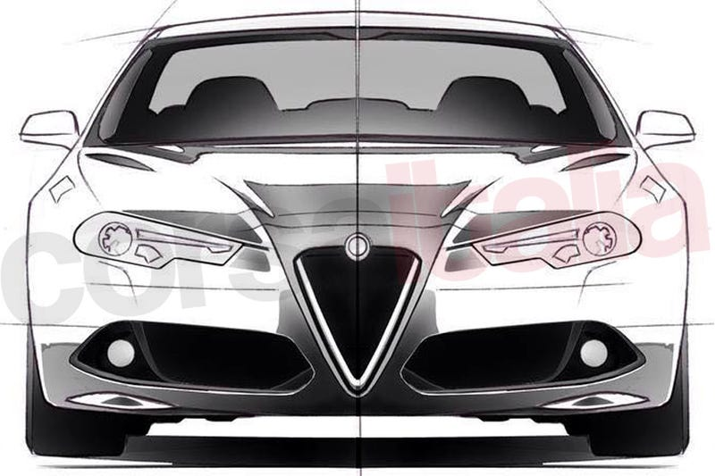 Illustration for article titled Could These Unofficial Sketches Be The 2016 Alfa Romeo Giulia?