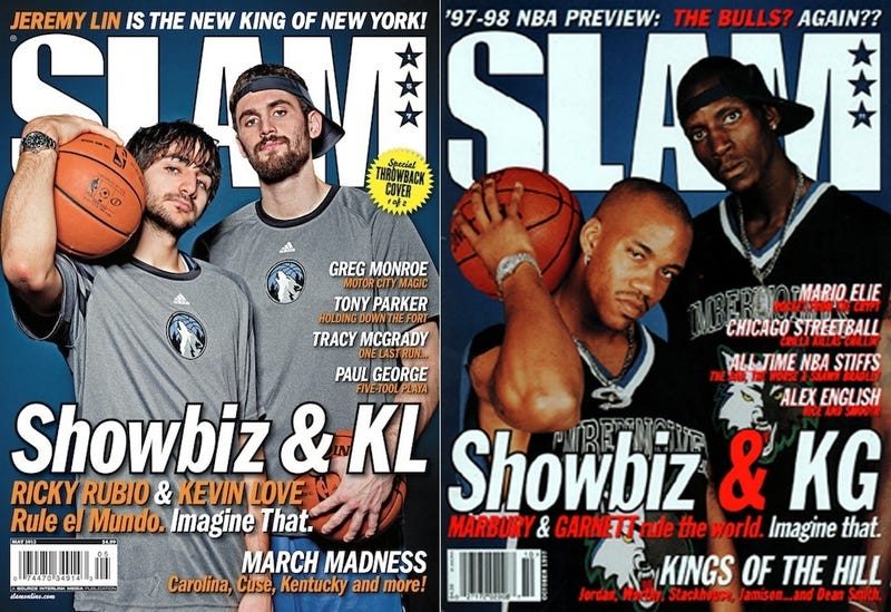 Illustration for article titled Slam Cover Goes Retro, With Rubio and Love As Marbury And Garnett