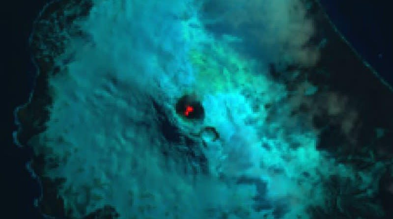 False color image of Saunders Island and the lava lake within Mt. Michael.
