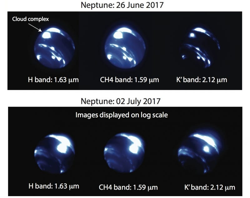 Images of Neptune taking during twilight at the Keck Observatory at Mauna Kea, between June 26th and July 2nd, 2017.  Image Credit: N. MOLTER/I. DE PATER, UC BERKELEY/C. ALVAREZ, W. M. KECK OBSERVATORY