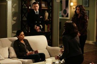 Naval officer Amy Martin (played by Emily Rios) and her JAG Corps lawyer-B613 agent (Dan Byrd) talk with Olivia (Kerry Washington) and Quinn (Katie Lowes) in a scene from Scandal.Nicole Wilder/ABC