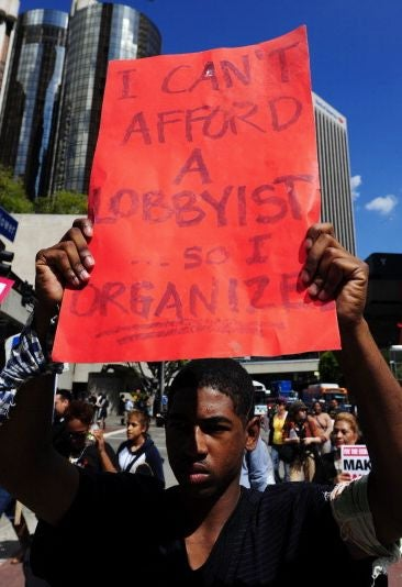 Anti-Wall Street protesters march through Los Angeles. (Getty)