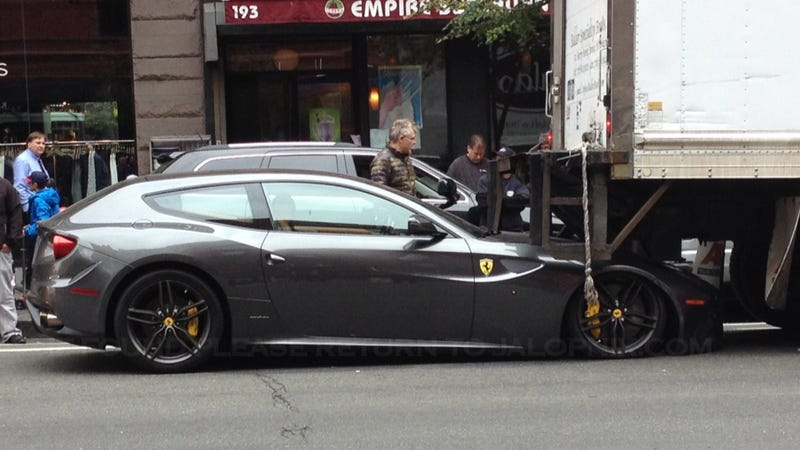 Illustration for article titled Lovely Ferrari FF Gets Bad Facial Surgery From A Delivery Truck