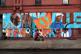 """A wall is painted with the word """"Brownsville"""" in that section of Brooklyn in New York City June 2, 2015. Spencer Platt"""