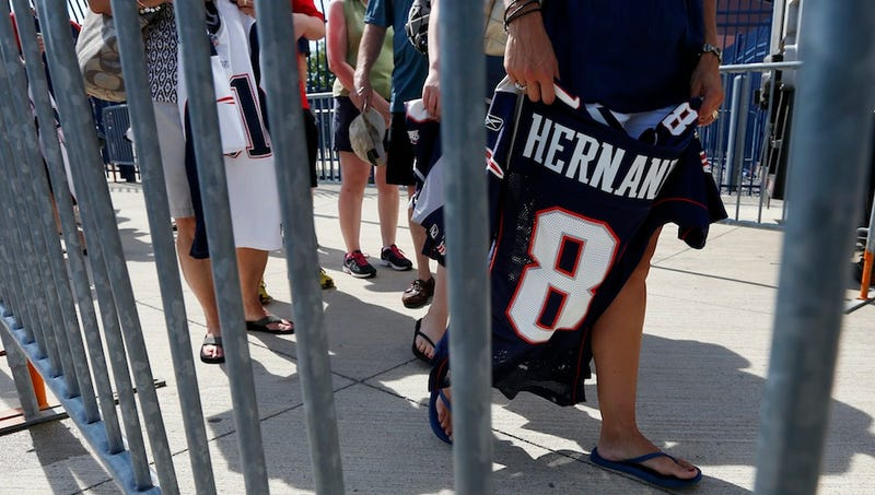 Illustration for article titled Patriots Fans Trade Aaron Hernandez Jerseys For The Usual Suspects