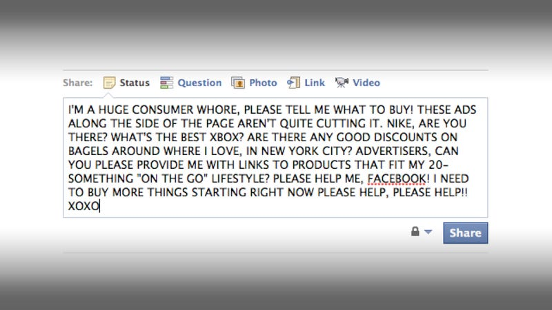 Illustration for article titled Facebook Is Reading What You Write to Sell Ads. Live.