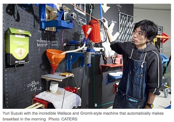 Illustration for article titled Teacher Invents Wallace/Gromit Brekky Machine •Aceh Considers Ban On Tight Trousers