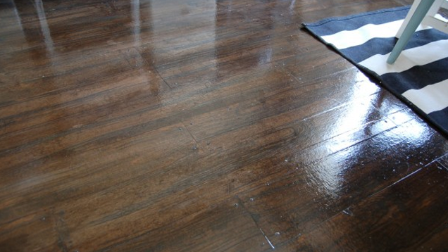 Turn brown paper into a realistic looking faux wood floor for Imitation hardwood floors