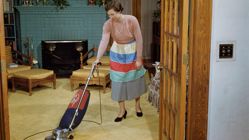 """Illustration for article titled German grocer """"regrets"""" Mother's Day ad featuring vacuum, ironing board, sewing machine"""