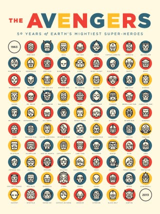 Illustration for article titled 50 years of Avengers members on one minimalist poster