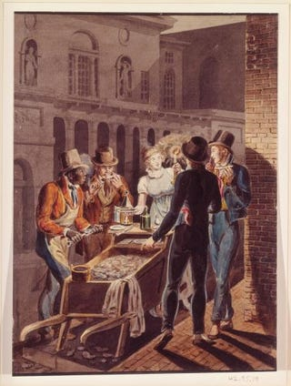 John Lewis Krimmel, attributed to. Nightlife in Philadelphia—an Oyster Barrow in Front of the Chestnut Street Theatre, circa 1811-13. Watercolor, 23.3 by 17.3 cm.Metropolitan Museum of Art, New York City