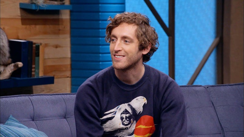 "Illustration for article titled Comedy Bang! Bang!: ""Thomas Middleditch Wears an Enigmatic Sweatshirt and Sweatpants with Pockets"""