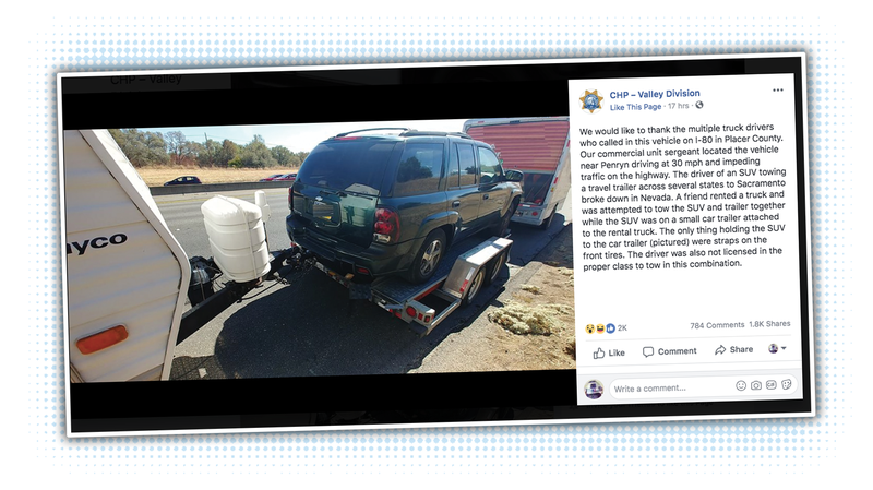 Illustration for article titled CHP Pulls Over Truck Towing an SUV Towing a Trailer
