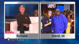 Ellen DeGeneres (left) surprised Detroit Principal Ronald Alexander (pictured in image, right) on her show in February 2016. Alexander is now one of 13 principals federal authorities have charged with participating in a kickback scheme.ClickonDetroit Screenshot