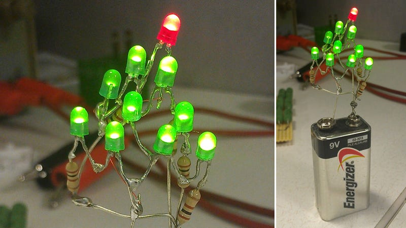All You Need For A Christmas Tree Is A Battery, LEDs, And