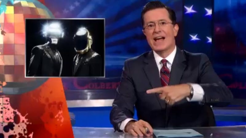 Illustration for article titled Watch Stephen Colbert Awesomely Rip On MTV For Stealing Daft Punk