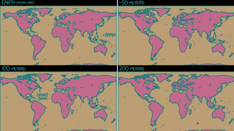 Illustration for article titled Észre se vennénk, ha apadna az óceánok vízszintje 50 métert?