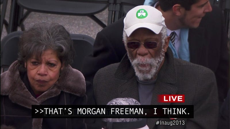 Illustration for article titled Inauguration Day In Post-Racial America: George Stephanopoulos Thinks Bill Russell Looks Like Morgan Freeman