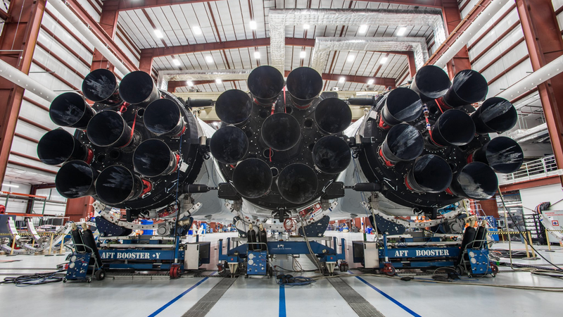 Now that's a lot of booster power: 27 Merlin engines staring you right in the face. (Image: SpaceX)