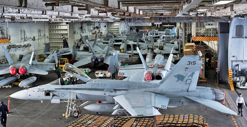 Check Out The Crowded Hangar Bay Aboard The Carrier USS Dwight D. Eisenhower