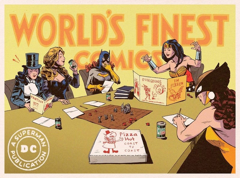 Illustration for article titled On their day off, DC superheroines play Dungeons & Dragons