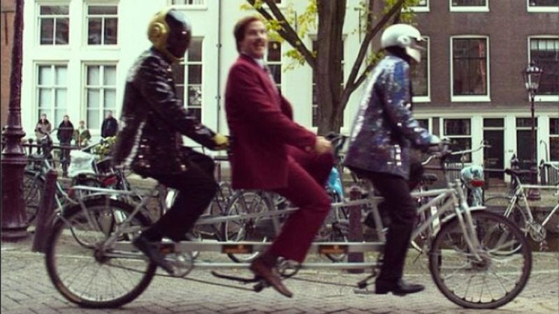 Illustration for article titled Ron Burgundy rode a 3-person bike with Daft Punk and did a lot of other stuff at the MTV European Music Awards