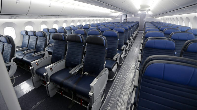 Economy class seating is shown on a new United Airlines Boeing 787-9 undergoing final configuration and maintenance work at Seattle-Tacoma International Airport in Seattle.