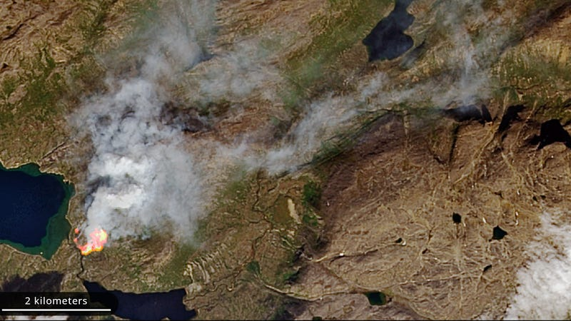 Illustration for article titled Greenland Was on Fire This Week Amid 'Unprecedented' Arctic Burn