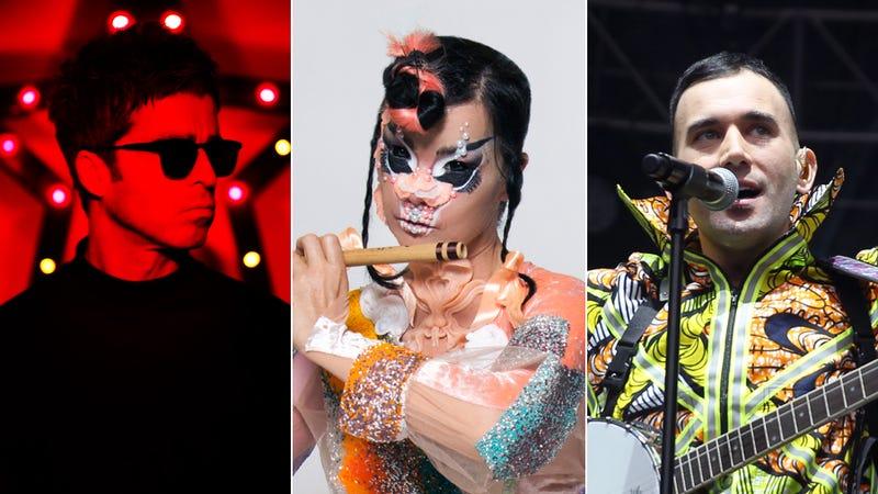 Noel Gallagher (Photo: Lawrence Watson), Björk (Photo: Santiago Felipe), and Sufjan Stevens (Photo: FilmMagic/FilmMagic via Getty Images)