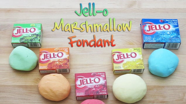 Jell o and marshmallows make a quick and tasty fondant for What ingredients do you need to make a cake