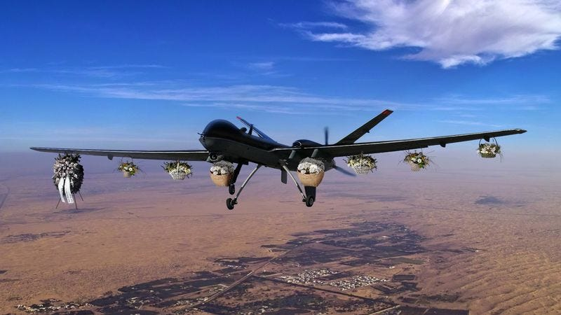 Pentagon officials say the M2-Griever can operate from such a high altitude that bereaved families often don't know a drone is hovering overhead until the moment sympathy strikes.
