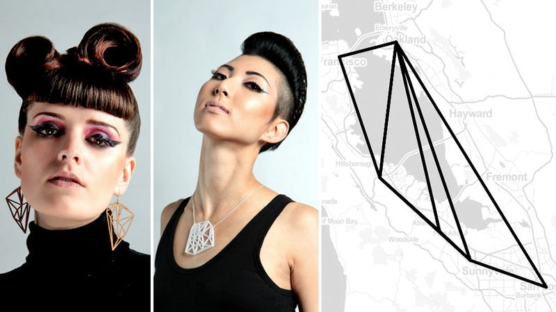 Illustration for article titled Most Ridiculous Foursquare Thing: Jewelry Made by Mapping Out Your Check-Ins