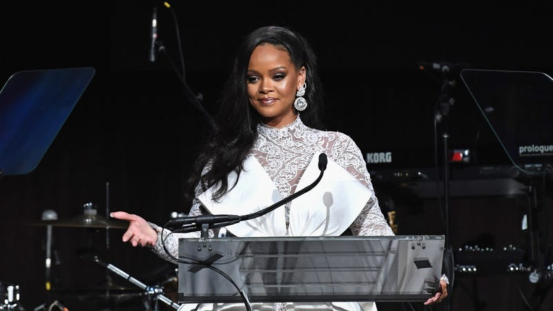 Rihanna speaks onstage during her 4th Annual Diamond Ball benefitting The Clara Lionel Foundation on September 13, 2018 in New York City.