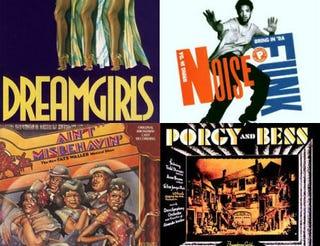Top row: Dreamgirls original Broadway cast recording; Bring in 'da Noise, Bring in 'da Funk original Broadway cast recording. Bottom row: Ain't Misbehavin' original Broadway cast recording; Porgy and Bess original Broadway cast recording. All images: Amazon.com.