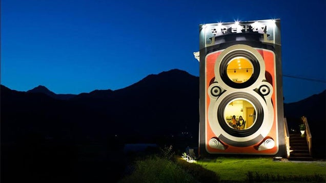 This giant camera is not a fake but an awesome two-story building