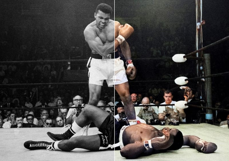 Muhammad Ali vs Sonny Liston (1965) / a la derecha, la versión coloreada por Colourise.sg