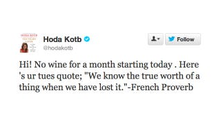 Illustration for article titled Lovable Wino Hoda Kotb Is Off the Sauce for One Whole Month