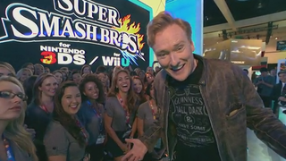 Illustration for article titled Conan O'Brien Tries Games (And Hijinks) At E3 2014