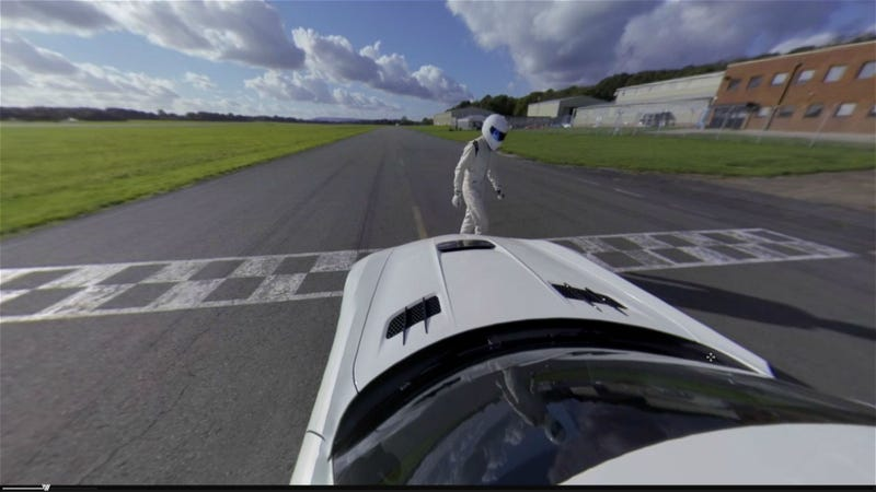 Illustration for article titled Riding with the Stig, in a SLS, in 360, lapping the Top Gear Test track