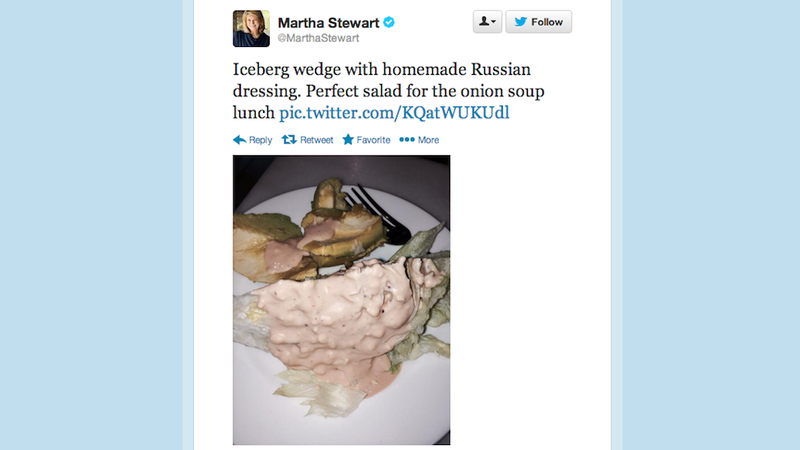 Illustration for article titled Martha Stewart Can't Stop Tweeting Really Gross Pictures of Food