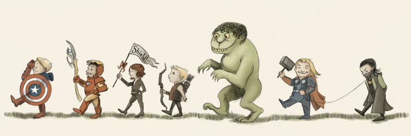 Illustration for article titled The Avengers, in style of Maurice Sendak
