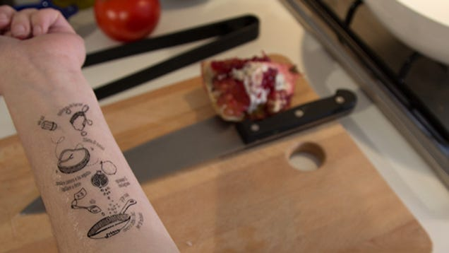 Keep your cookbooks clean with a temporary recipe tattoo for Wash off temporary tattoos