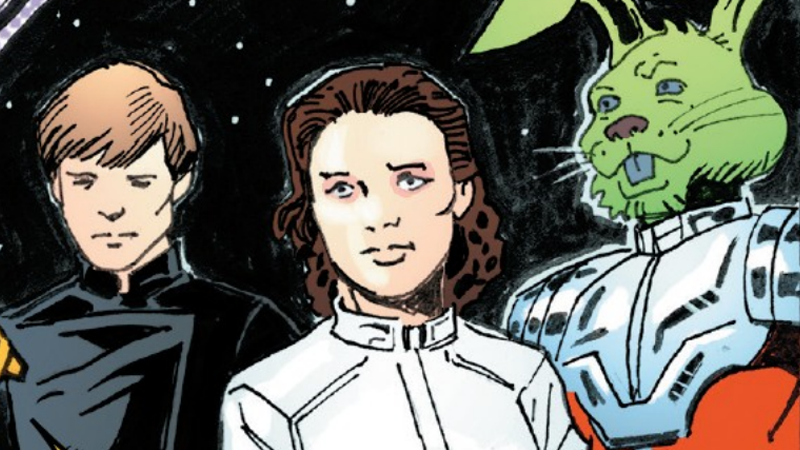Luke, Leia, and their untrustworthy ally Jaxxon.