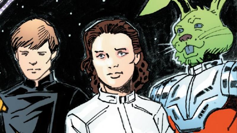 Luke, Leia, and their untrustworthy ally Jaxxon.