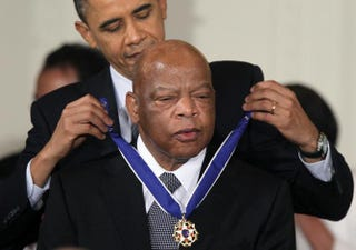 Rep. John Lewis (D-Ga.) is presented with the Medal of Freedom by President Barack Obama during an East Room event at the White House Feb. 15, 2011.Alex Wong/Getty Images