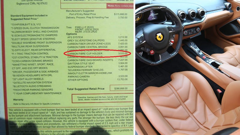 Illustration for article titled Ferrari Will Charge You $3,533 For A Carbon Fiber Cupholder
